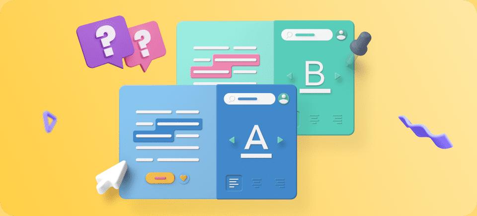 Imágenes que muestran un A/B testing en una web