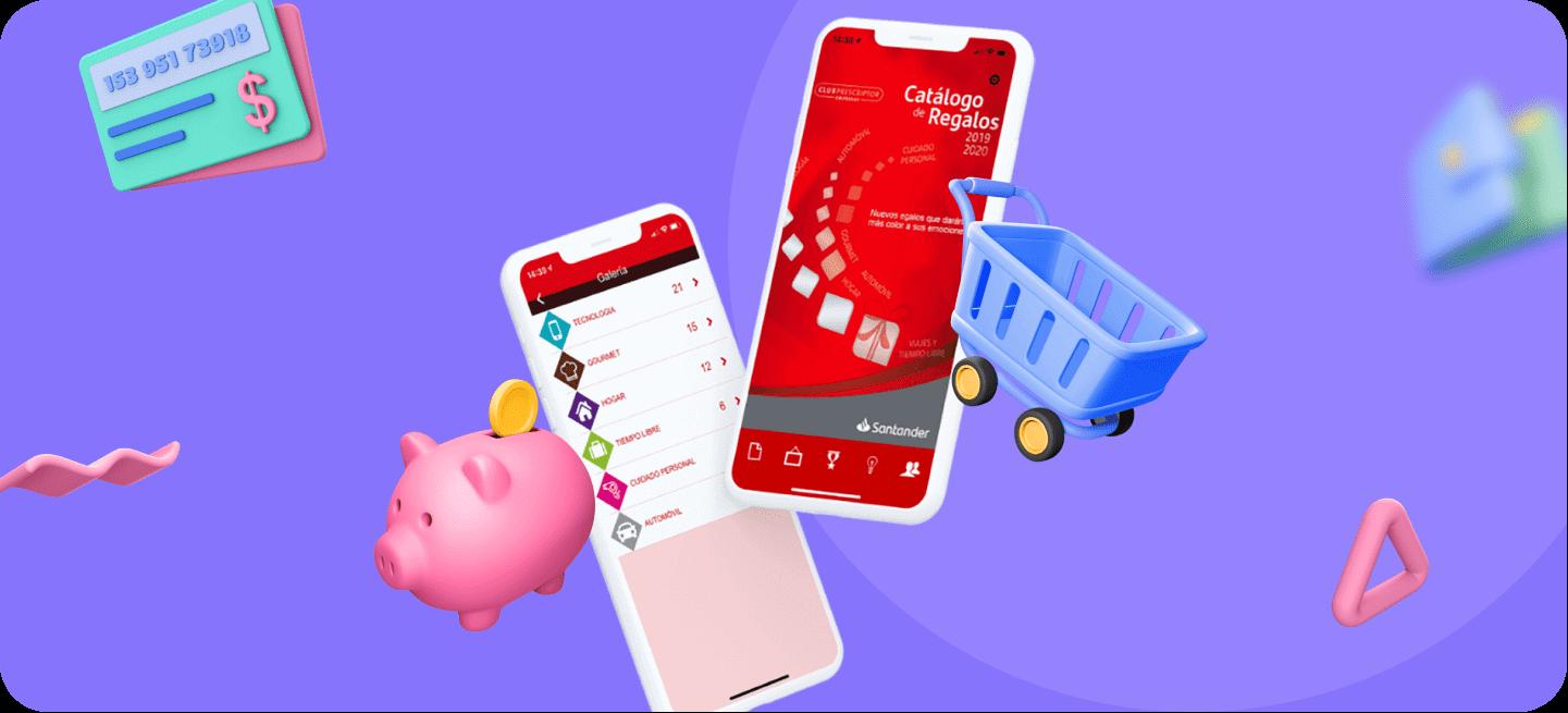 Mockup con la pantalla de inicio de la app de Banco Santander