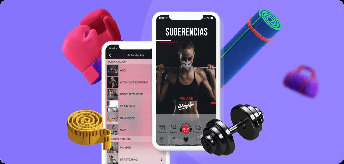 Mockup de un móvil con la aplicación de Holiday Gym
