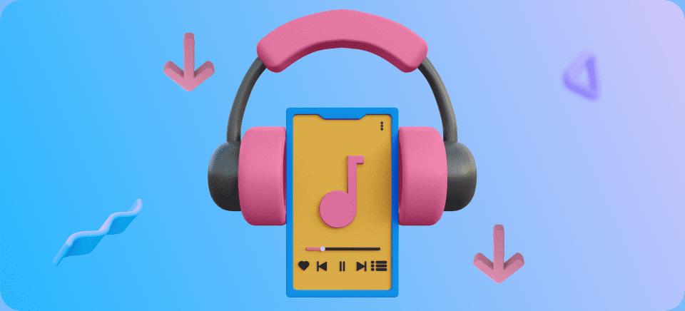 Una imagen de un móvil con unos cascos para representar las apps para descargar música
