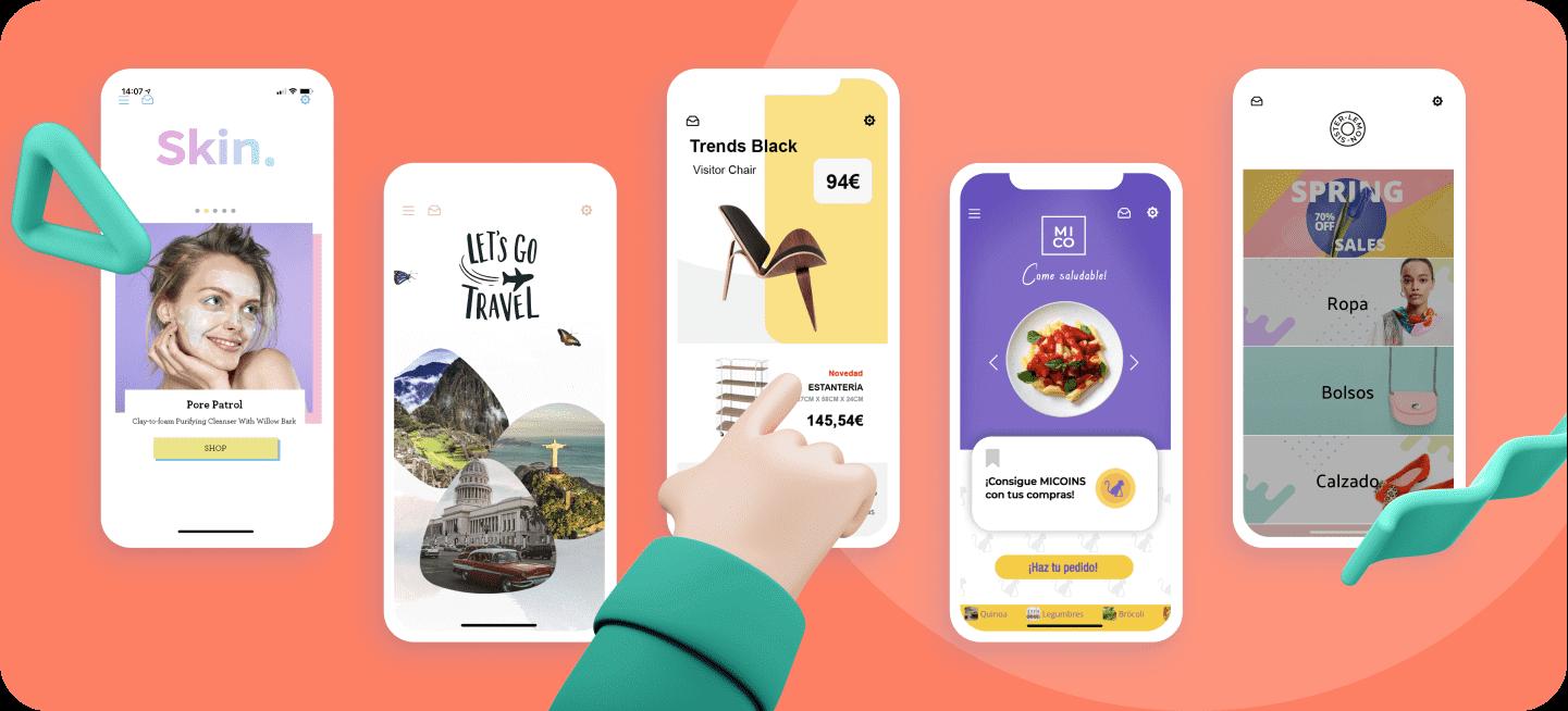 Varios mockups con capturas de apps para empresas