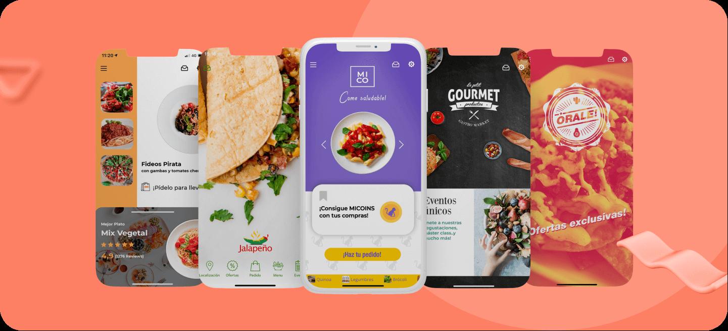 Mockkups de varias apps de restaurantes