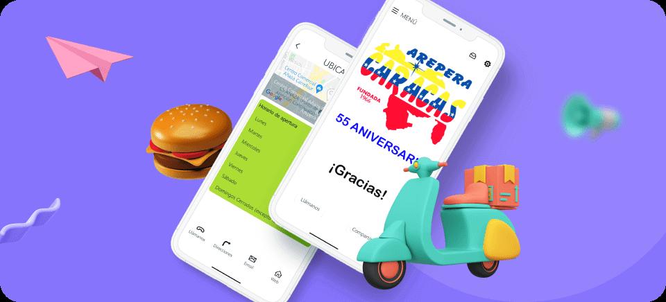 Mockup de un móvil con la aplicación del restaurante Arepera Caracas