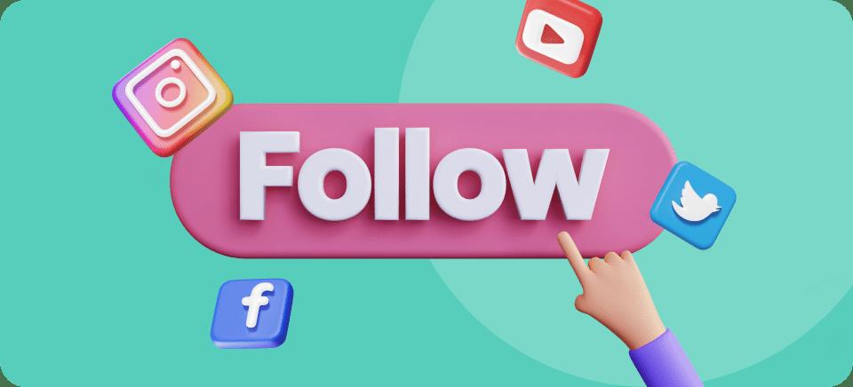 Imagen de un botón de follow para aumentar el alcance en rrss