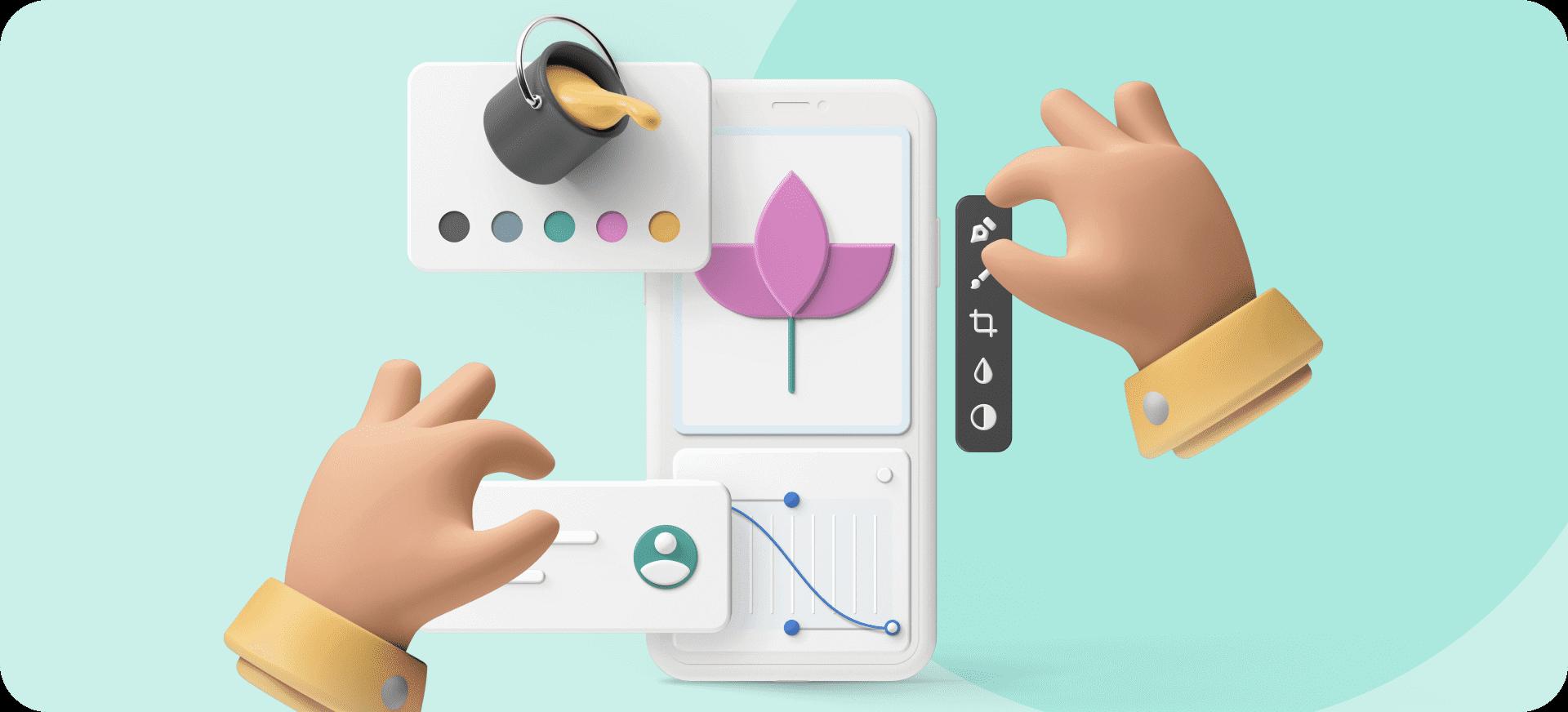 Varios iconos que representan cómo crear una app