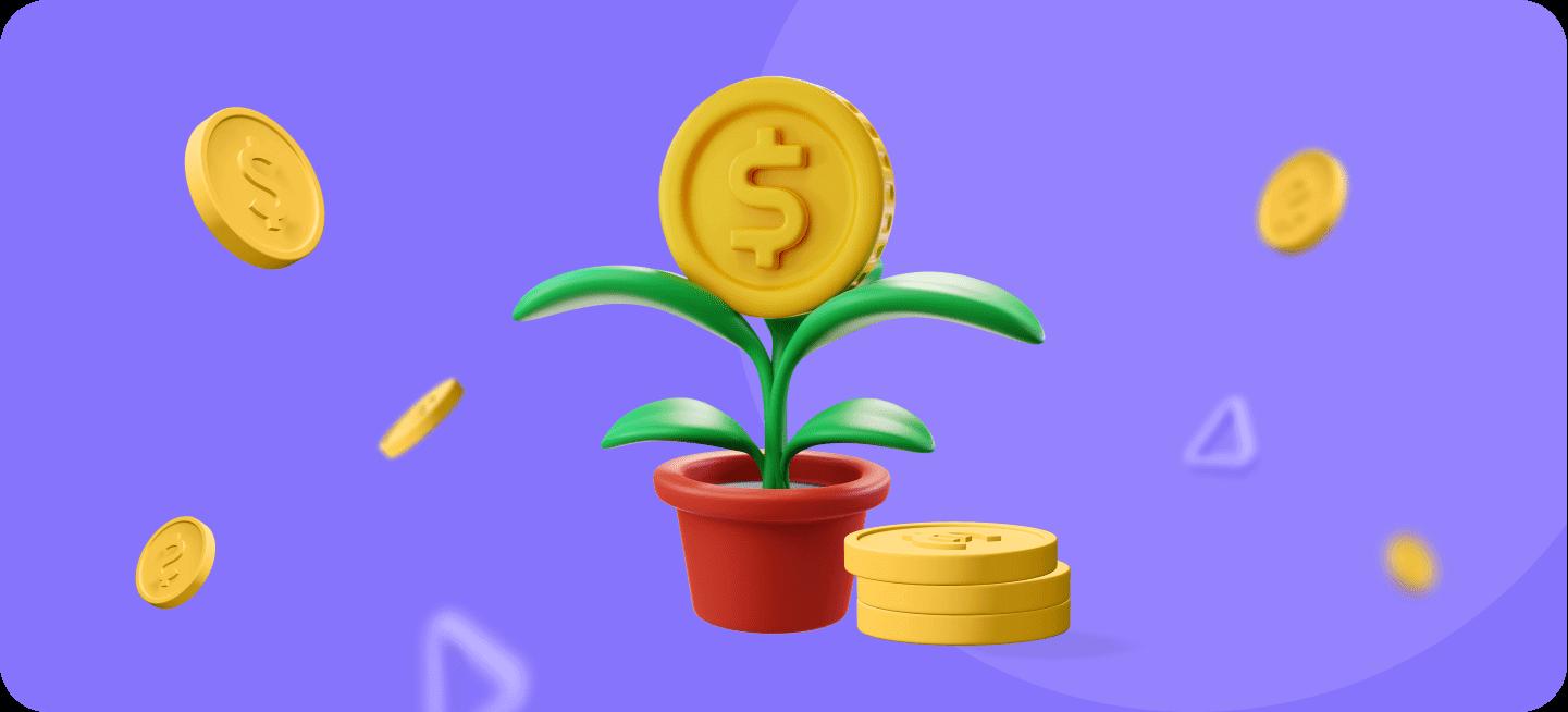 Imagen de una maceta de la que está floreciendo dinero para representar cómo ganar dinero