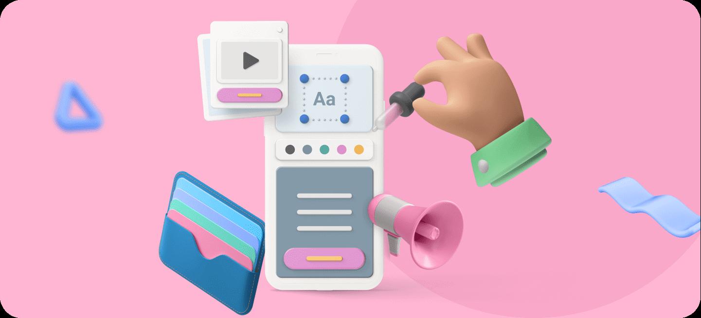 Una imagen de un móvil con varios elementos de la creación de apps para representar cómo ganar dinero con apps