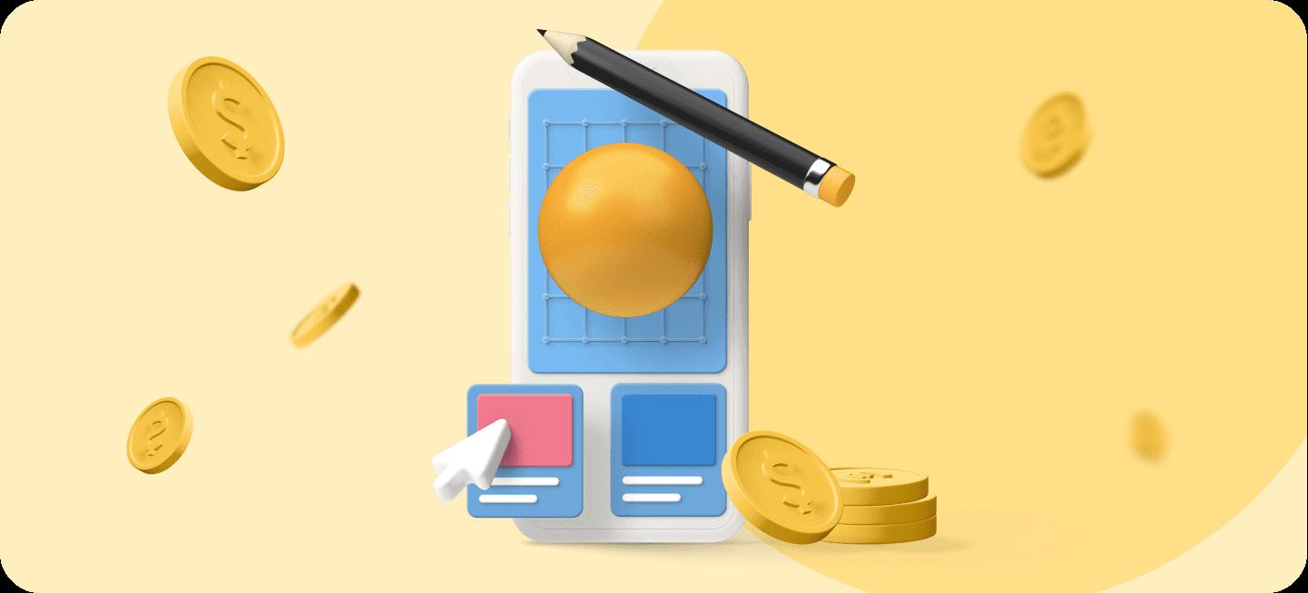 Imagen de un móvil con dinero para representar cuánto cuesta crear una app
