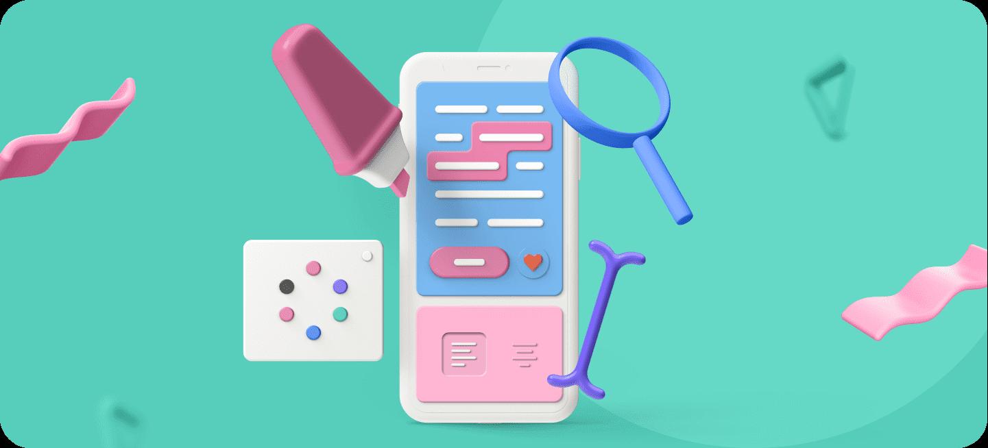 Imagen de un móvil con elementos de escritura para representar la descripción de una app