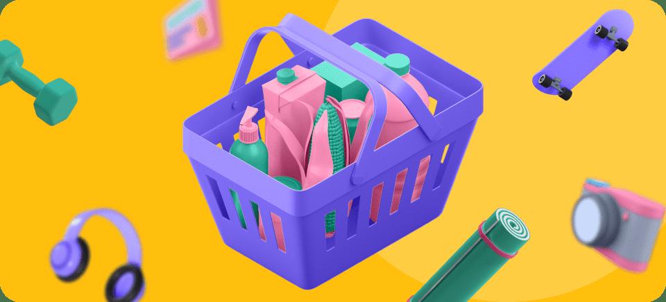 Una imagen de una cesta de la compra llena de productos para representar el artículo de descripción de productos