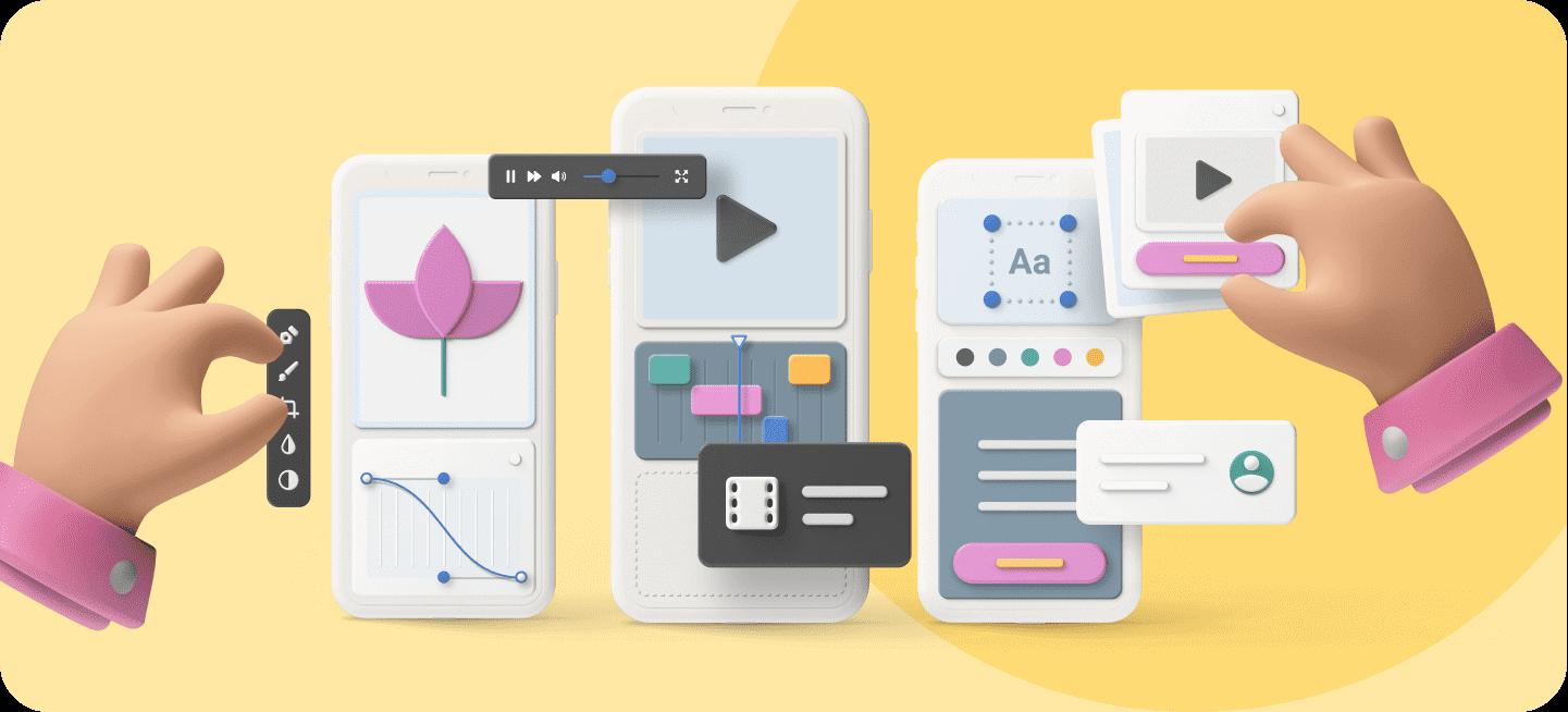 Varias imágenes que muestran el diseño de apps