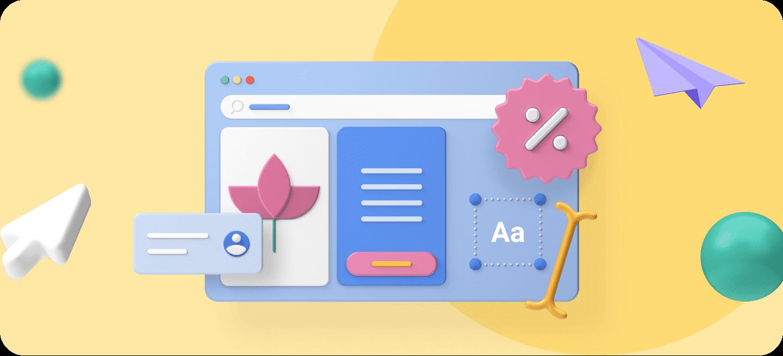 Iconos que representan algunos elementos de una Landing Page