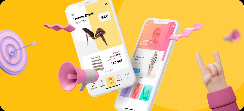 Mockup de dos móviles con una tienda de muebles y otra de ropa para explicar las estrategias de mobile app marketing