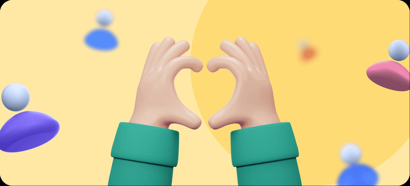 Una imagen de unas manos en forma de corazón para representar la fidelización de clientes