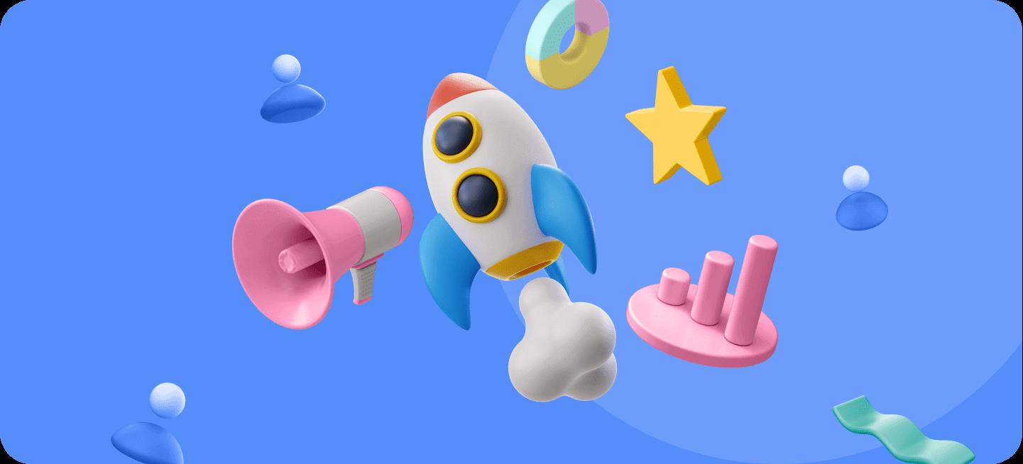 Imágenes de un cohete, megáfono.... Que representan las ideas de negocios