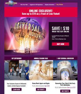 Universal Studios Landing as Example of Mobile Marketing Flyer