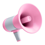 Icono de un megáfono rosa para representar la sección de marketing móvil del blog