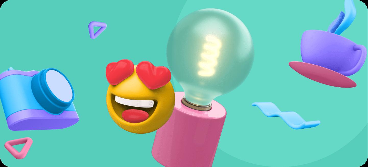 Varias imágenes, de bombillas, emoticonos... que representan los productos innovadores