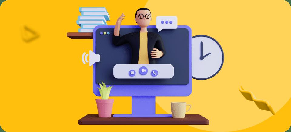 Imágenes de un ordenador y una persona para representar la satisfacción del cliente